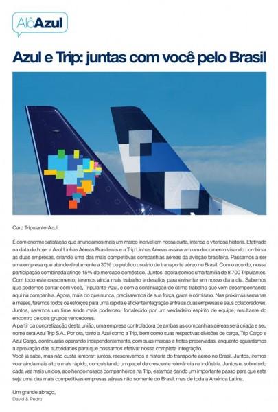 Carta aos tripulantes Azul/Trip