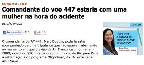 Notícia do UOL sobre o voo AF447