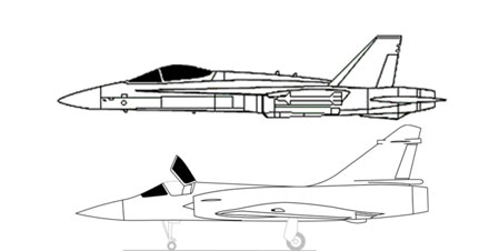 Desenho comparativo do Mirage com o F/A-18