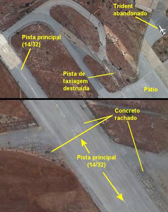 Zoom de imagem de satélite do aeroporto de Nicosia
