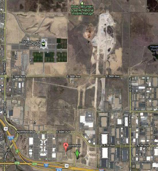 A área do antigo aeroporto Stapleton, em Denver, hoje