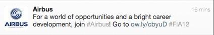 Imagem de um tweet da Airbus