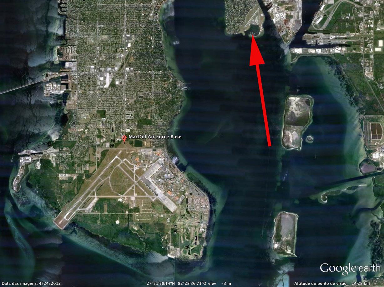 Google Maps mostra o local onde o C-17 deveria ter pousado