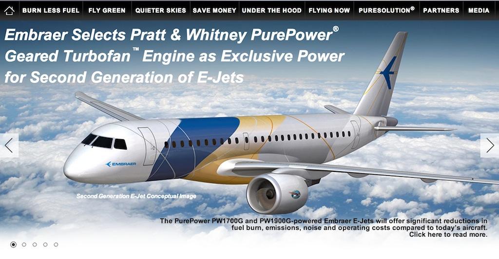 Imagem do site da PW mostrando o PurePower na asa de um E-Jet