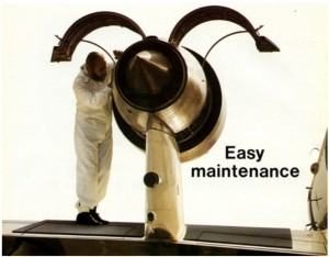 Manutenção no motor sobre a asa