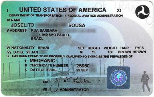Habilitação FAA atual