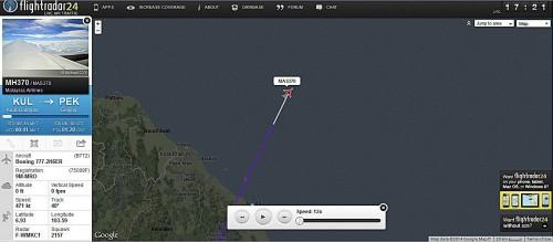 Tela do Flight Radar e última posição enviada por ADS-B