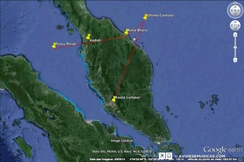 Por onde supostamente passou o voo MH370 após decolar de Kuala Lumpur