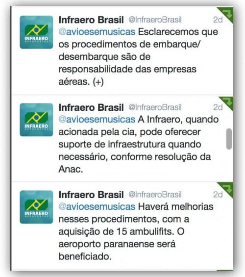 Reprodução da nota da Infraero no twitter
