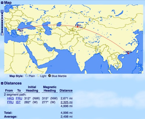 Distância do voo de acordo com o GCmap.