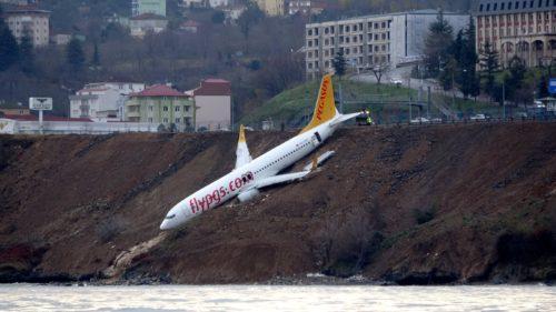 Pegasus 737 após o pouso em Trabzon